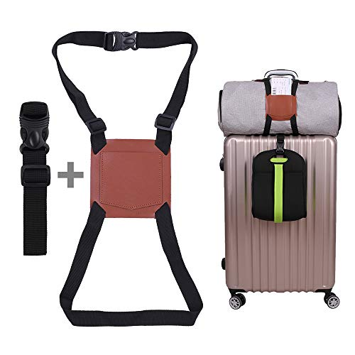 Luggage Strap, Elastic Bag Bungee, Add a Bag Suitcase Extended Adjustable Belt for Carry-on Luggage,Multi-Purpose Real Leather Travel Accessories (Brown)