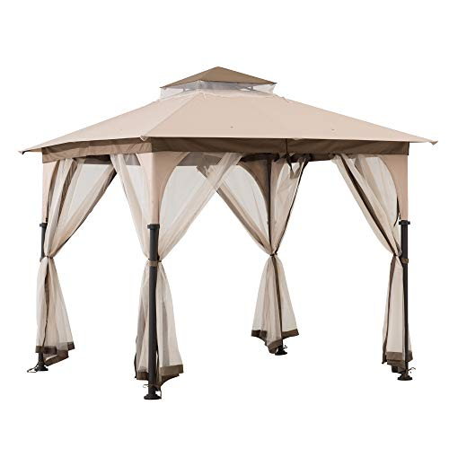 Sunjoy A101011100 Shelby 8x8 ft. 2-Tone Steel Gazebo, Tan and Brown