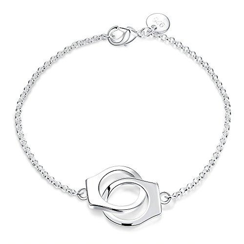 Faysting EU Gioielli regolabile argento bracciale braccialetti con pulsante argento materiale manette hit hop stile per donna uomo festa san valentino regalo