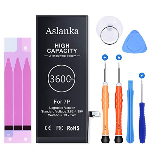 New 3600mAh Battery for iPhone 7 Plus, Aslanka Huge High Capacity Battery Replacement kit 0 Cycle(Enhanced), Included Professional Tools and Instructions-2 Years Warrant