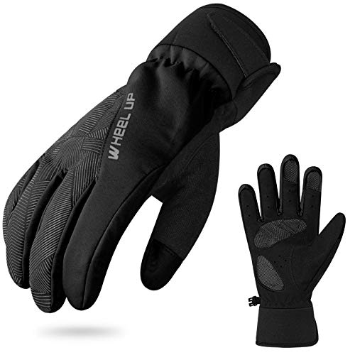 Hikenture Winter Bike Gloves, Thermal Waterproof Ski Gloves Snow Gloves, Windproof Warm Cycling Gloves for Men and Women, Anti-Slip Cold Weather MTB Gloves for Cycling, Skiing, Hiking, Climbing(XL)