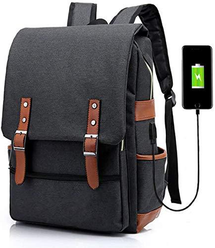 Zaino, zaino per laptop unisex, zaino da viaggio per studenti universitari con porta di ricarica USB Lavoro, viaggio, trekking, escursionismo Zaino da esterno-Nero