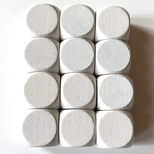 Spieltz Blanko Würfel aus Holz für Brettspiele, weiß, Made in Germany (12 Stück)