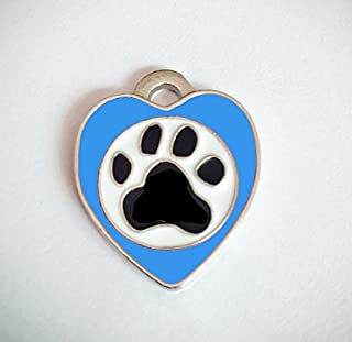 Polykor Useful Heart-Shaped Footprints Dog Tag Pet Pendant Color Paint Tag(Blue)