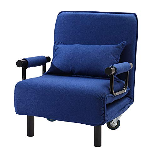 INMOZATA 2-in-1 Single Folding Futon Chair Sofa Bed Chair Guest Sleeper Chair Bed with Pillow Wheels for Home Bedroom Living Room (Blue)