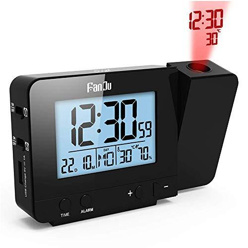 投影時計 温度と時間の投写を伴う投影アラームクロック/USB充電器ポート/室内温度と湿度/スヌーズ機能付きの手動時間調整/カレンダー/ダブルアラーム/12/24時間