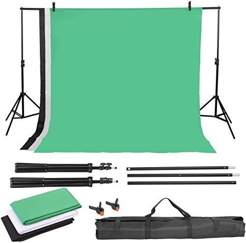 MVPower 2×3M Supporto per Fondale, Fondale Fotografico Kit con 1,6×2M Sfondo(Nero, Bianco, Verde), Regolabile e Portatile, per Studio, Prodotto, Ritratto, Registrazione Video