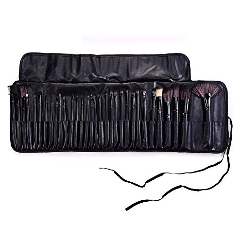 Outils de beauté cosmétiques professionnels 32pcs professionnel doux cosmétique sourcils oeil fard à paupières maquillage pinceau noir sac affaire (Color : Black)