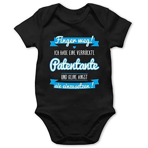 Shirtracer Sprüche Baby - Ich Habe eine verrückte Patentante blau - 18/24 Monate - Schwarz - Babykleidung Patentante - BZ10 - Baby Body Kurzarm für Jungen und Mädchen
