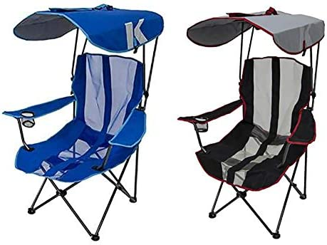 Kelsyus Premium Portable Camping Folding Lawn Chairs with Canopy Blue Black product image