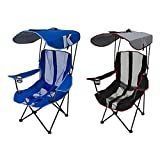 Kelsyus Premium Portable Camping Folding Lawn Chairs with Canopy, Blue & Black