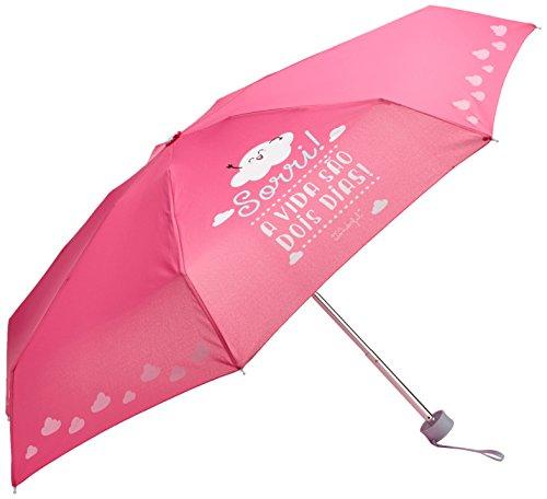 Mr.Wonderful Sorri! A Vida São Dois Dia Paraguas Pequeño, Color Rosa