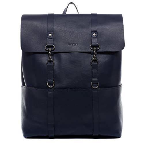 FEYNSINN® Zaino vera pelle Daniel grande XL borsa a spalla 15,6 pollici borsa a zainetto backpack uomo cuoio nero