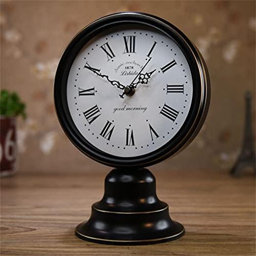 KLHDGFD Reloj Reloj de Mesa Reloj de Escritorio para Sala de Estar Escritorio para el hogar Adornos de Escritorio creativos Reloj nostálgico Retro Simple Europeo (Color : B, Size : One Size)