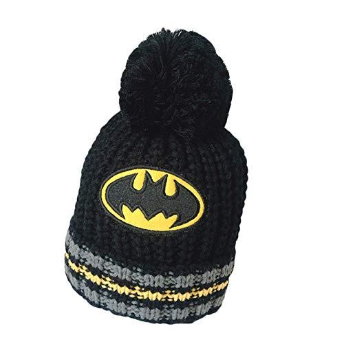 YEMAO Sombrero de superhéroe para niños, Gorro de Punto de Felpa, Capucha de Lana de Dibujos Animados de Spiderman para niños, Otoño Invierno, Batman