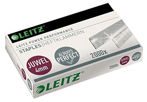 Leitz Juwel Heftklammern 4 mm, Box mit 2000 Stück, Verzinkt, 56400000