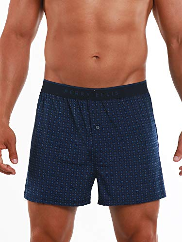 Perry Ellis Men's Luxe Button Fly Boxer Short, Dots - Navy, Large