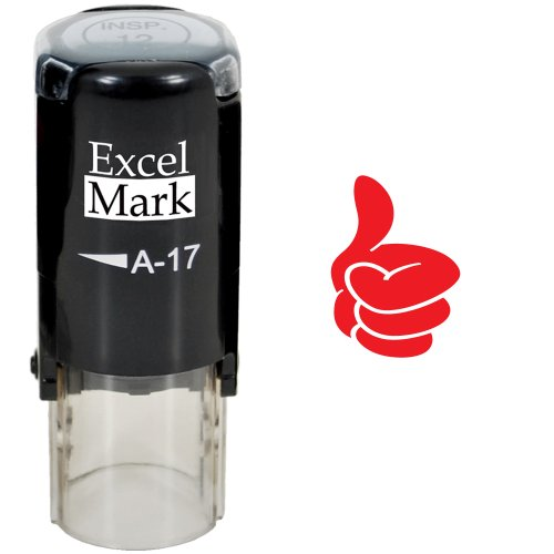 Round Teacher Stamp - Thumbs UP (Solid) - RED Ink