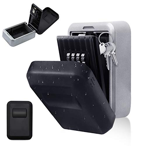 wolketon Schlüsseltresor, Schlüsselkasten für die Wandmontage,Schlüsselsafe mit 4-Stelliger Zahlencode, Schlüsselbox für Ersatzschlüssel (Mit wasserdichter Abdeckung)