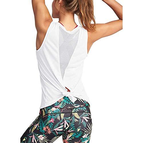 XITANG Yoga Fitness Chaleco Deportivo de Mujer Chaleco Fitness Chaleco sin Mangas Yoga Chaleco Anudado de Malla Fitness Vest (1pc) Blanco