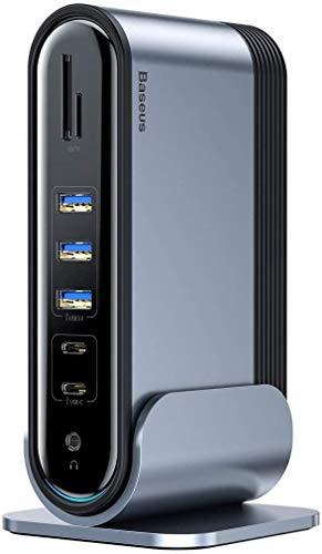 Baseus Dockingstation, Typ C Hub Adapter Multifunktionale Arbeitsstation (CN+UK+EU) mit HDMI, VGA, Audio, Gigabit-Ethernet, 5 USB-Port, 100W USB-C-PD, SD/FT-Kartenleser für Windows, Mac, Laptop usw.