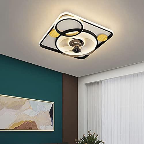 Ventiladores de techo con luz y mando a distancia lampara ventilador techo dormitorio silencioso ventilador techo con luz led silencioso lampadario ventilatore cameretta 48CM*13CM,Negro