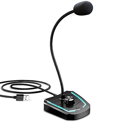 XIAOKOA Micrófono para PC, Micrófono USB con Interruptor de Volumen y Conector para Auriculares de 3,5 mm, Micrófonos para Grabación/Podcasting/Streaming/Youtube/Juegos, con luz LED