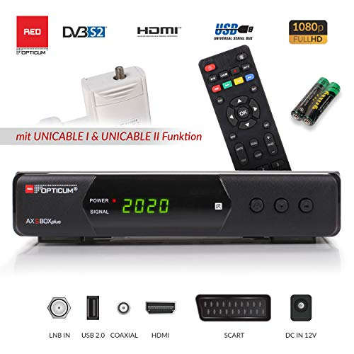 Opticum SBOX Plus - Sat-Receiver HD Unicable - Media-Player 1080P Full-HD Digitalreceiver DVB-S/S2 - Astra & Hotbird vorinstalliert + Anadol HDMI Kabel