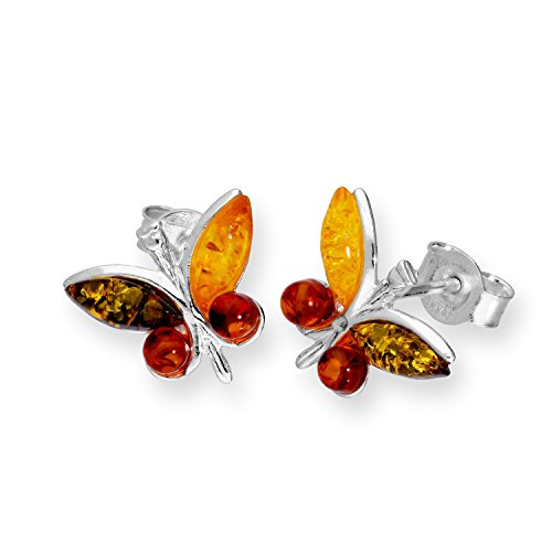 jewellerybox Sterling Silver & Multicoloured Baltic Amber Butterfly Stud Earrings