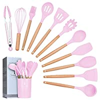 lychee utensili cucina set,12 pezzi set di utensili da cucina in silicone,resistente al calore con manico legno antiaderenti da cucina strumento di cottura termoresistenti (rosa)
