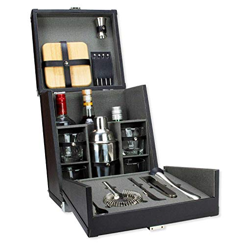 Atterstone Travel Bar Cocktail Set - 17-Piece Portable Bar Tool Set for Bartenders and Mixologists/All-In-One Cocktail Shaker Set for Home, Bar and Travel/Barware Set for Men and Women