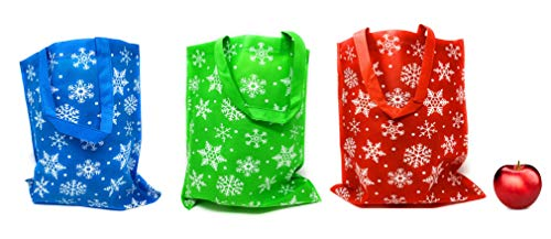 Bulk 24 Pack of Christmas Reusable Non-Woven Gift or Shopping Tote Bags Featuring Snowflakes and Large with Long Loop Handles - Three Festive Colors in Each Assortment