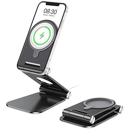 OMOTON Soporte Móvil para Cargador MagSafe, Soporte Plegable de Teléfono para Cargador MagSafe de Aluminio Compatible con iPhone 12/12 Pro/12 Mini /12 Pro MAX, No Incluido Cargador MagSafe, Gris