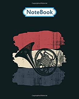 Notebook: french horn retro - for men woman Journal/Notebook Blank Lined Ruled 100 pages 8x10 inches