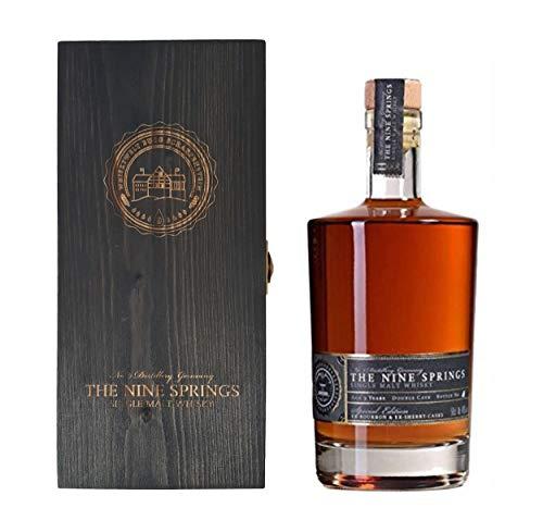 Whisky The Nine Springs Single Malt in schwarzer edler Holzbox
