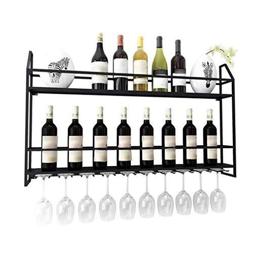 AHAI YU Estantes Colgantes para Copas de Vino Botella de Vino montada en la Pared Negro Estante de Vidrio Rack Metal Coblets Stemware Rack Holder Organización y Almacenamiento para decoración