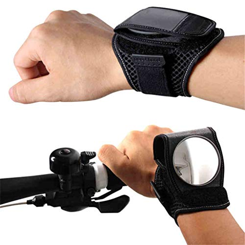 Unbran Wrist Wear Bike Mirror Bike Rearview Mirror Portable 360 Degree Adjustable Bicycle Wrist Band Rear View Mirrors Safety Rearview Cyclists Mountain Road Riding Cycling Accessories (Black, 1pc)