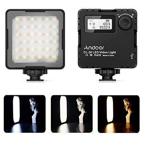 Luz de Vídeo LED,Andoer 2800K-8500K Luz de Fotografía de Temperatura de Doble Color de Cámara Ajustable con 3 Soportes de Zapatos fríos y Cable Tipo-C para Cámara DSLR iPhone Android dji Osmo Vlog