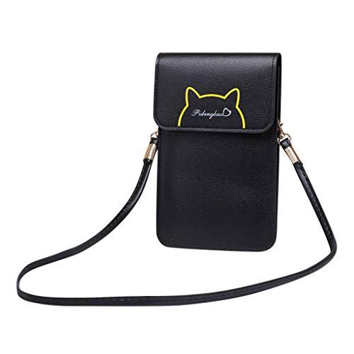 Bolsa pequena feminina transversal para celular, couro sintético leve, com visor sensível ao toque e alça removível, Preto