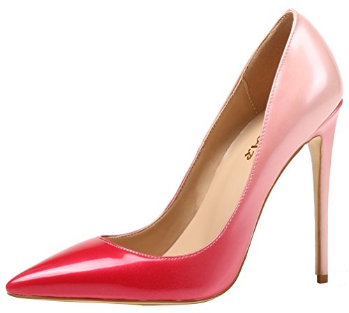 AOOAR Damen Gradient Lackleder Stiletto Pumps Rot & Rosa EU 45.5