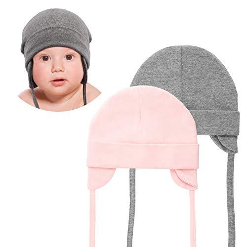 DRESHOW Unisex Baby Mütze Süßer Bär Kleinkind Earflap Beanie Warm für Herbst Wintermütze - 2/3 ans - D-Grey&Pink - lot de 2