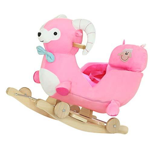 Bébé Jouet Cadeau Solide Bois Musique Grands Enfants Chaise berçante Double Usage Cheval à Bascule berceaux à Bascule, Envoyer Cool Pad