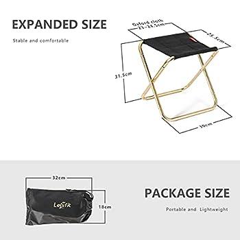 Lesfit De Camping Pliant Tabourets, Portable Tabourets Fold Up D'ExtéRieur for De PêChe, Hiking, BBQ, en Nylon Solide D'Aluminium PliéE (30 X 25,5 X 31,5 Cm)