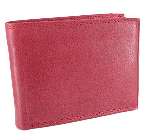 STEFANO Herren oder Damen Lederbörse aus weichem Leder Geldbörse Geldbeutel Portemonnaie Brieftasche Organizer Verschiedene Modelle (M2 rot)