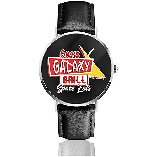 Unisex Gus Galaxy Grill Spaceballs Uhren Quarz Lederuhr mit schwarzem Lederband