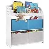 ONVAYA® Kinder-Bücherregal Weiß | Kinderregal mit Boxen | Aufbewahrung von Büchern und Spielzeug | Organizer für Kinderzimmer (Bücherregal Blau)