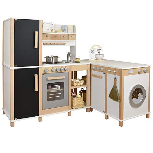 xxx Sun Kinderküche Flexi mit Tafel - Kombinierbare Spielküche aus Holz - Flexibel aufstellbare Küche für Kinder