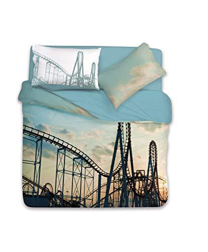 Gabel Luna Park Completo Copripiumino Singolo, Cenere, 155 x 205 cm
