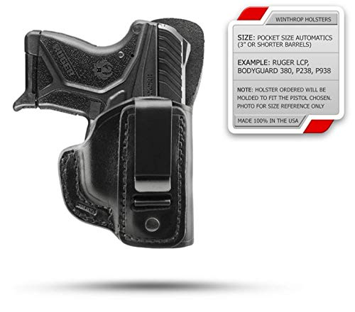 Winthrop Holsters IWB Single Spring Clip Black Leather Holster (S&W Bodyguard 380 No Laser...