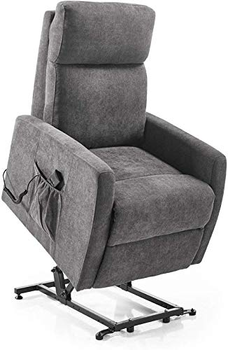 Home Heavenly - Sillón Relax Lyon, butaca reclinable con elevación automática Lyon, en tapizado Gris